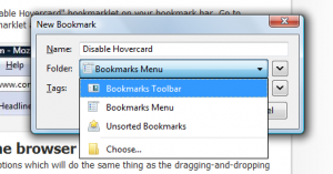 Adding a bookmarklet - FF